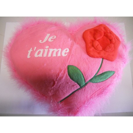 Coussin Coeur Grand Modele Je T Aime Rose