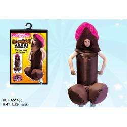 Costume zizi gonflable marron - Bambou Man