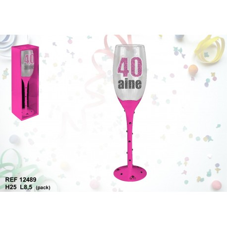Flute rose a champagne 40 ans