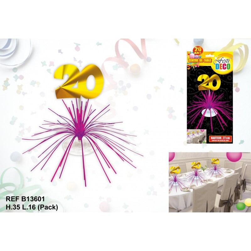 Centre de table 20 ans - Decoration table anniversaire 20 ans ...