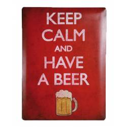 Plaque métal Keep calm and have a beer - 30 x 40cm