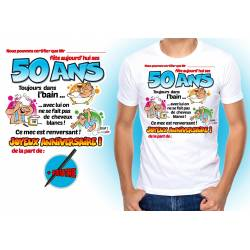 Tee-shirt homme dedicace on signe pour mes 50 ans