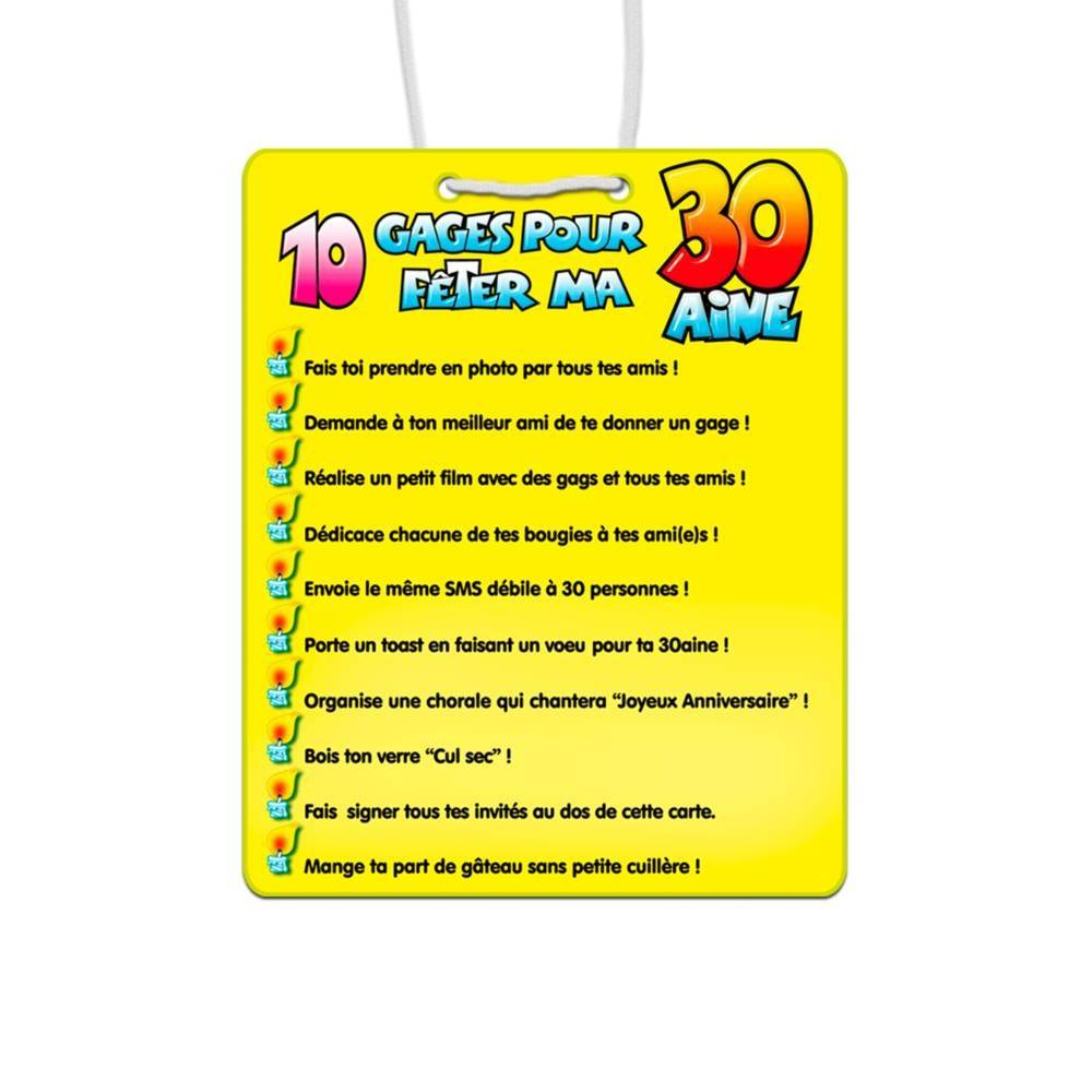 Carte 10 Gages Anniversaire 30 Ans
