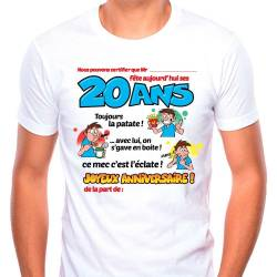 Tee-shirt homme dedicace on signe pour mes 20 ans
