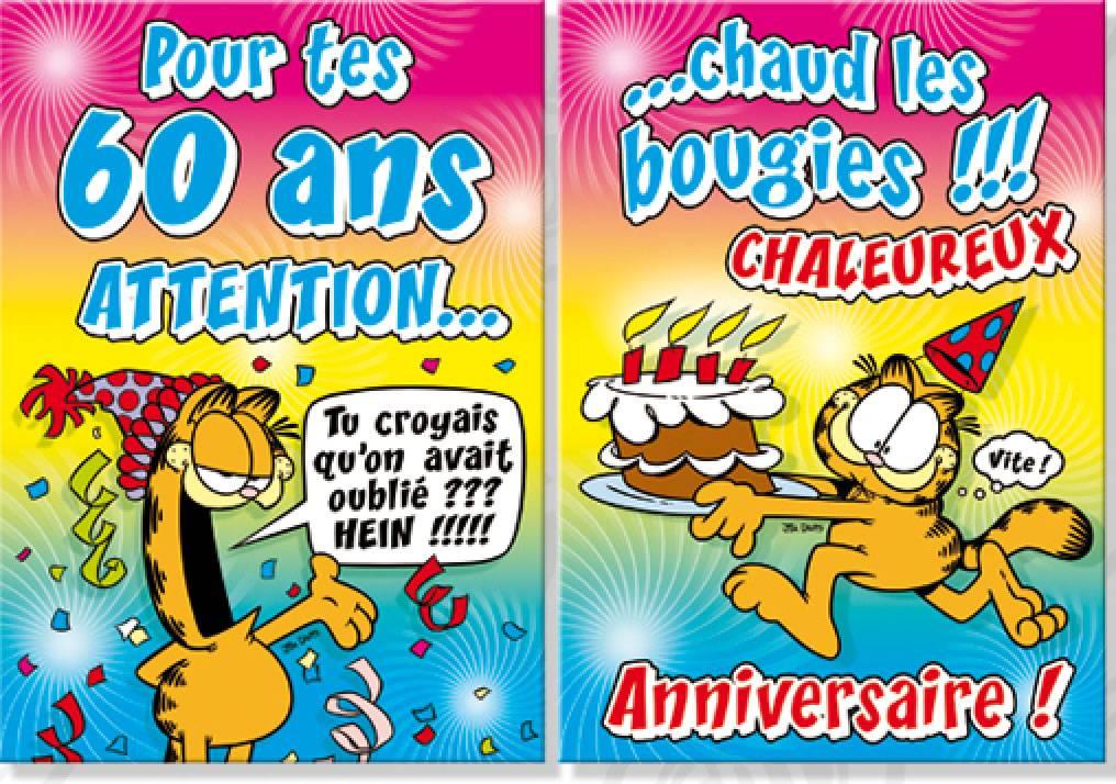 Image Pour Anniversaire 60 Ans.Carte Anniversaire Format Maxi Garfield Pour Tes 60 Ans