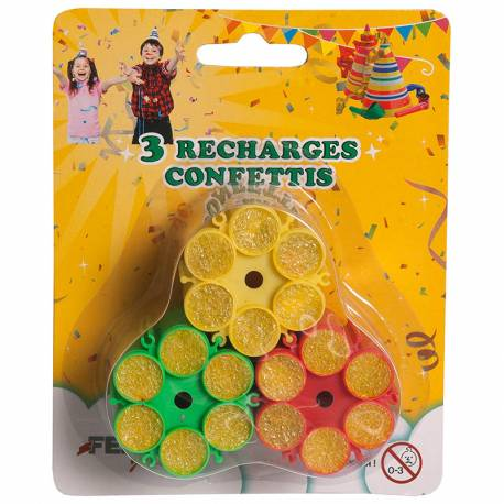 Lot de 3 recharges de confettis