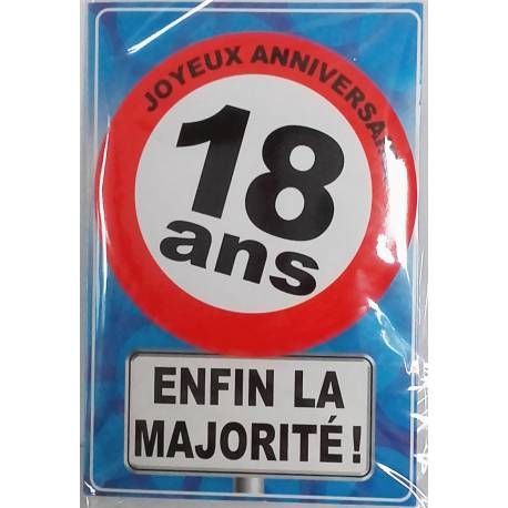 Carte postale + badge 18 ans