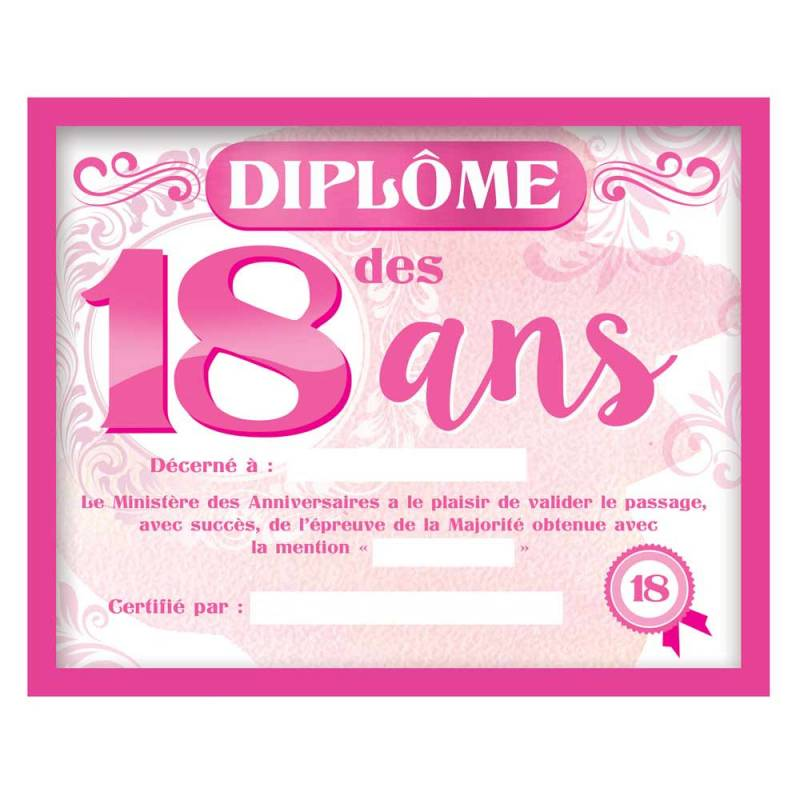 Cadre Diplome 18 Ans Fille